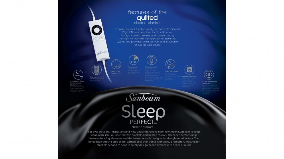 Sunbeam Sleep Perfect Quilted, Sunbeam Sleep Perfect Quilted Electric Blanket Queen Bed Bl5451