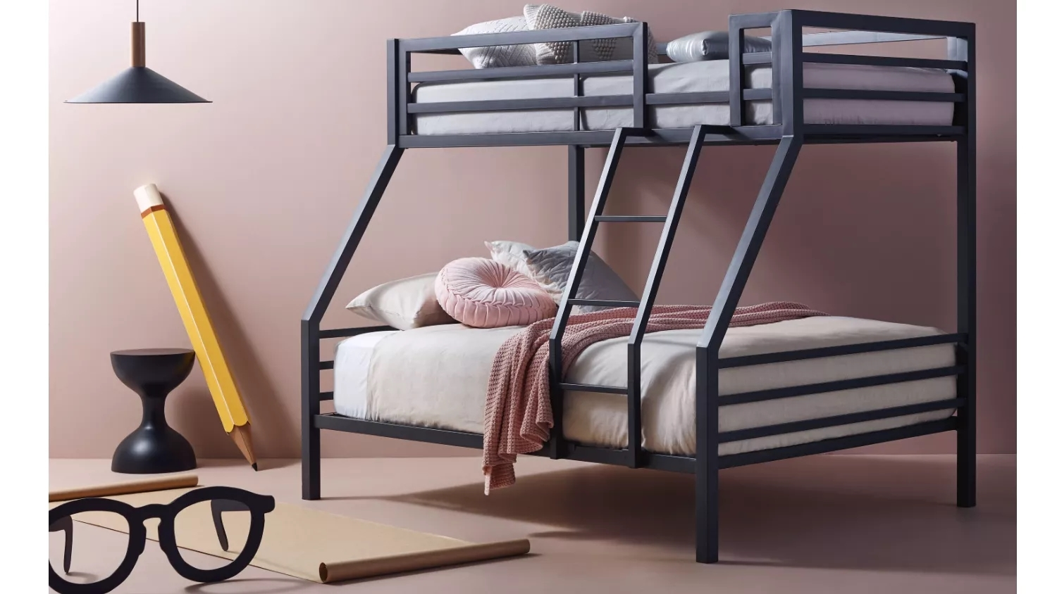Picture of: Buy Quad Bunk Bed Charcoal Domayne Au