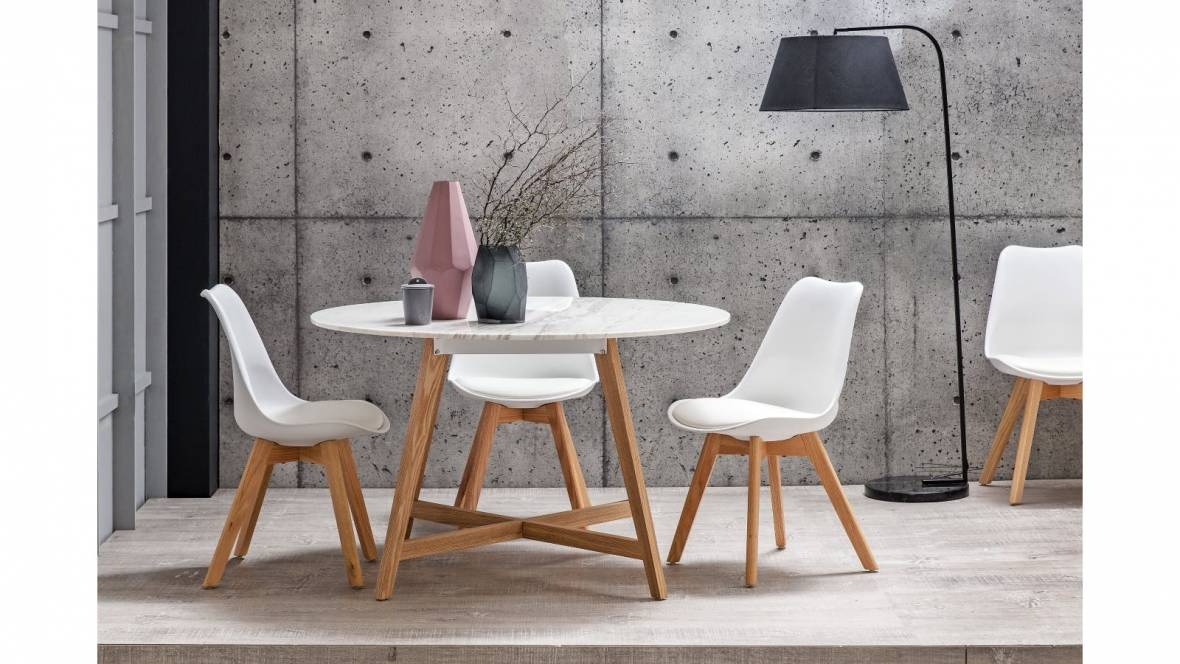 Blanco Round Marble Dining Table