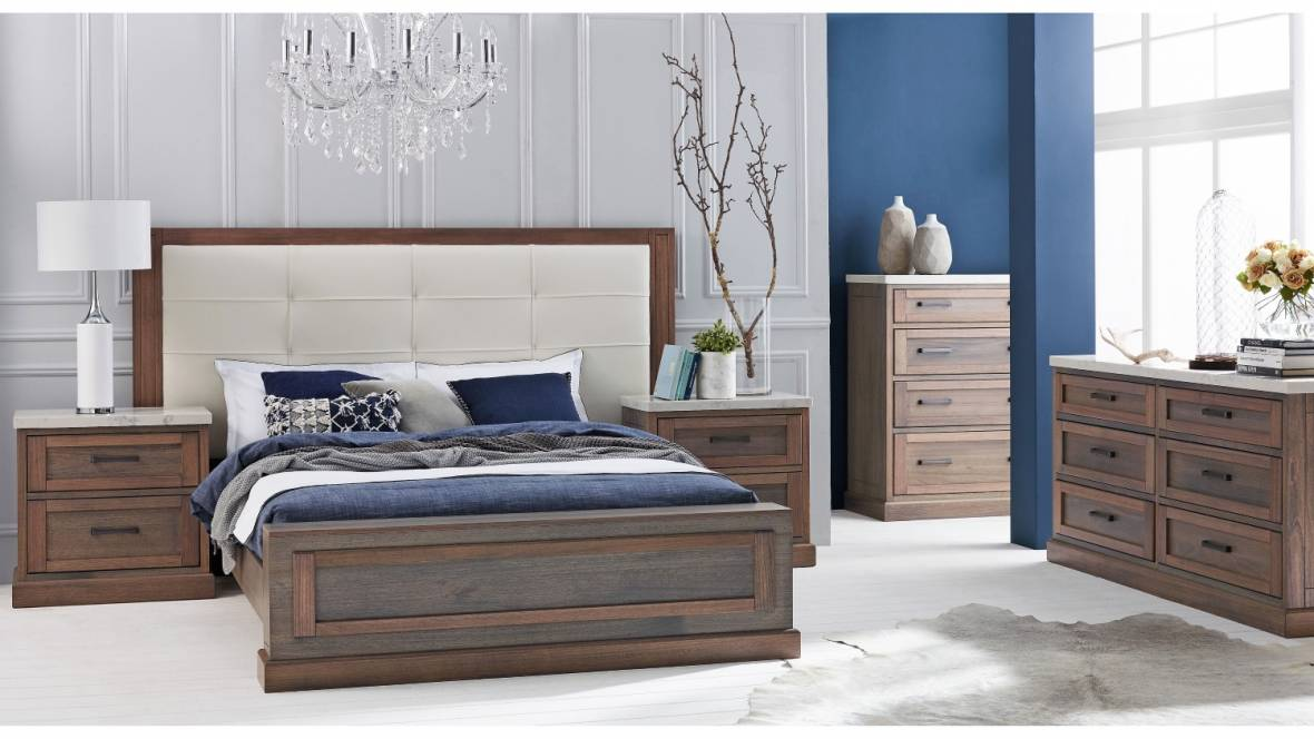 Hamptons Bed Frame with Leather Bedhead