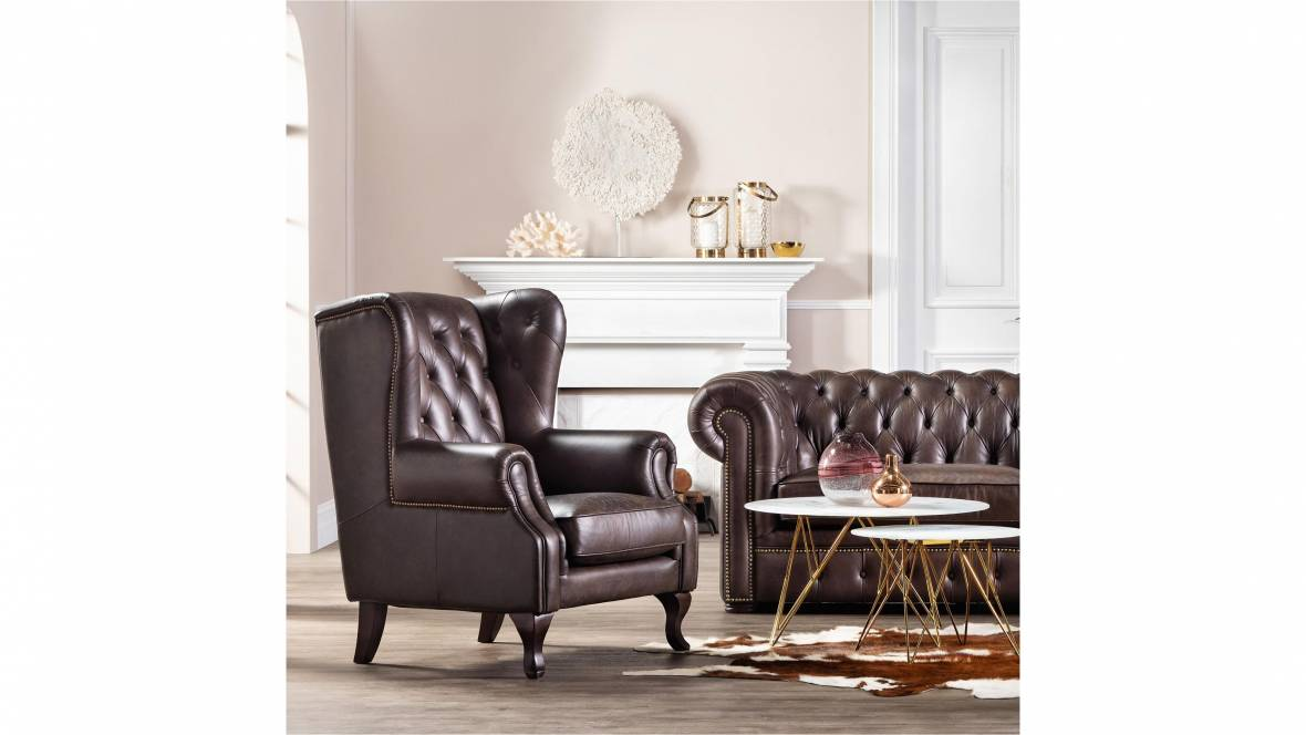 Buy Wiltshire Leather Wing Armchair | Domayne AU