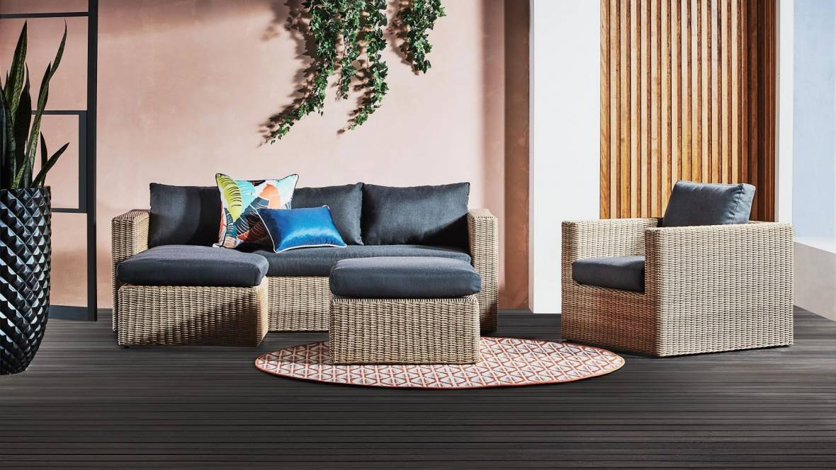 Buy Clarke 3 Seater Outdoor Lounge With Reversible Chaise