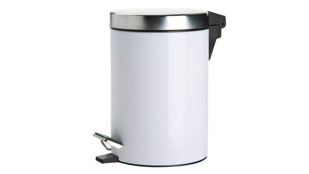 Linen House Coated Stainless Steel Waste Bin - White