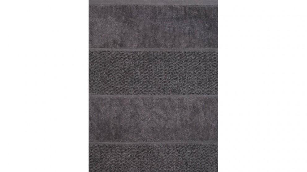 Linen House Velour Stripe Bath Towel - Charcoal
