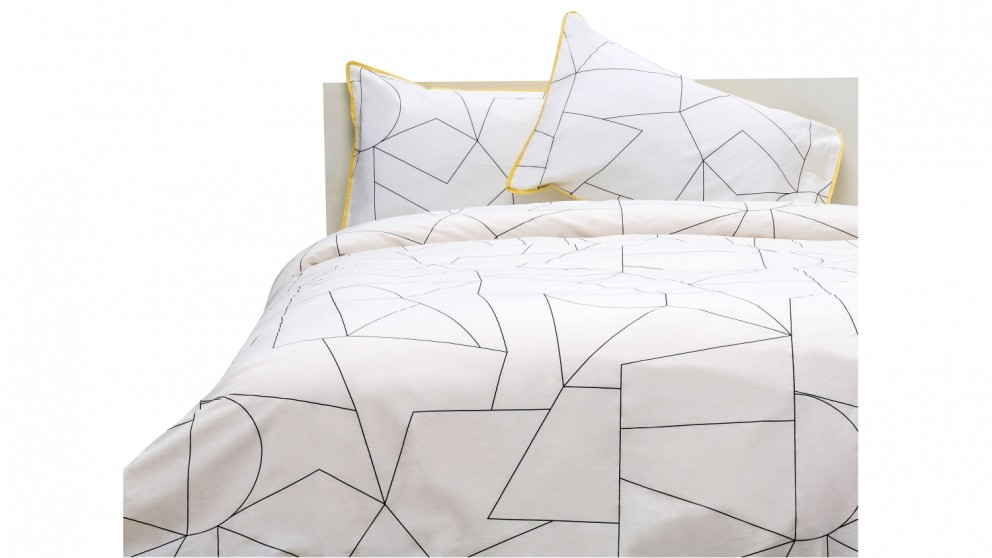 Linen House Fraction Quilt Cover Set - Yellow