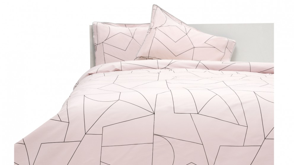 Linen House Fraction Quilt Cover Set - Pink