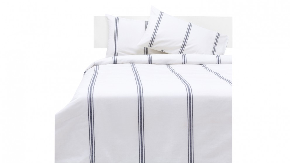 Linen House Humphrey Quilt Cover Set - White/Navy