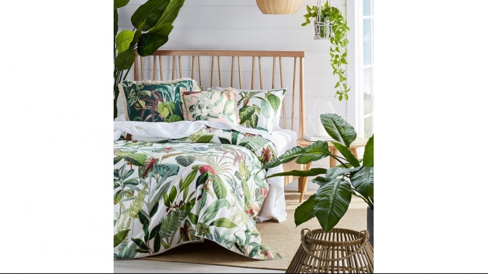 Wonderplant Green Queen Quilt Cover Set