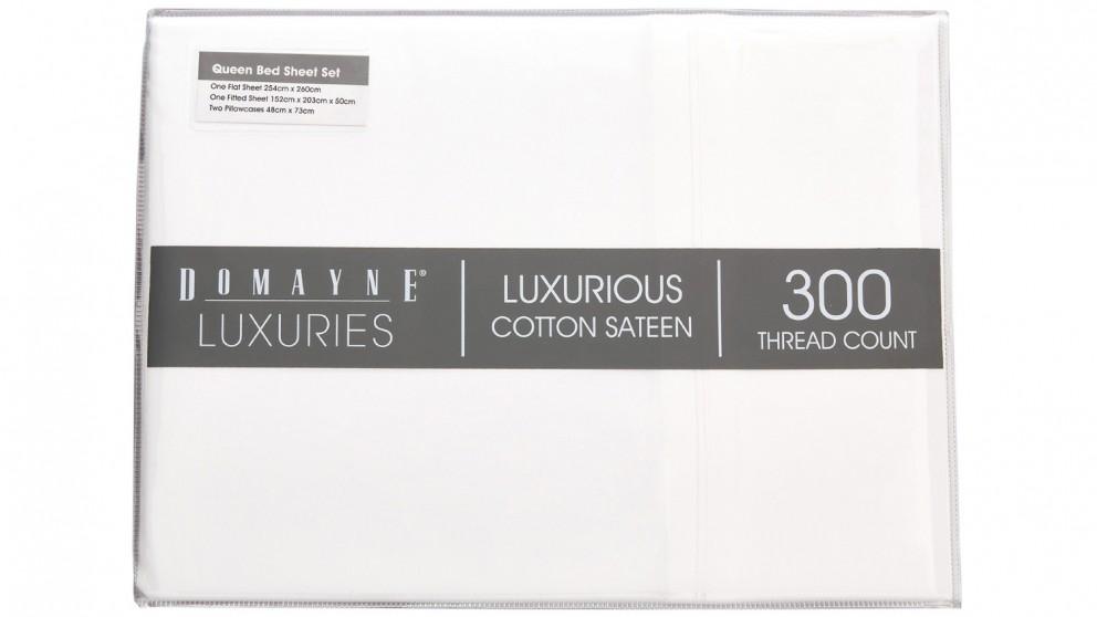 Domayne Luxuries 300TC Sheet Set - White