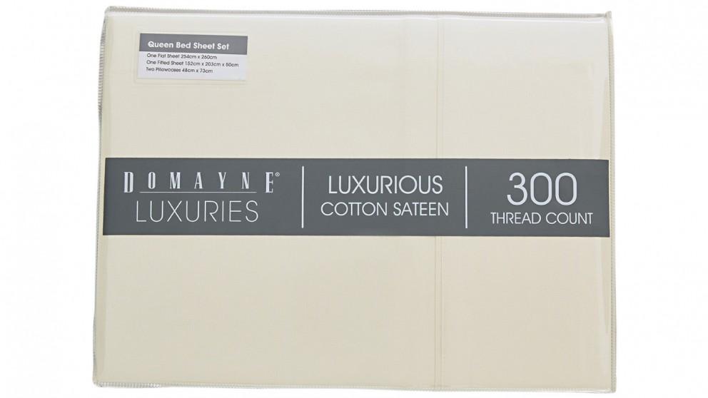Domayne Luxuries 300TC Sheet Set - Linen