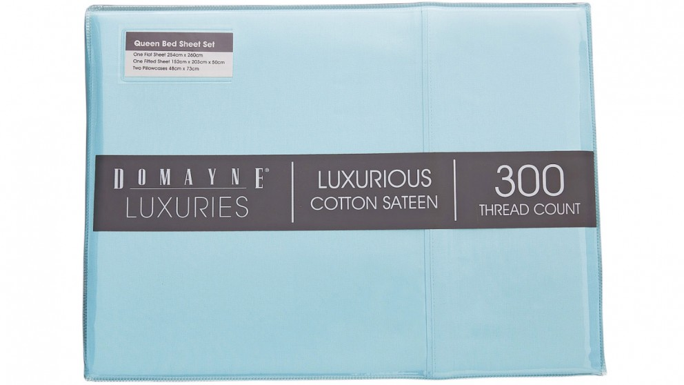 Domayne Luxuries 300TC Sheet Set - Blue