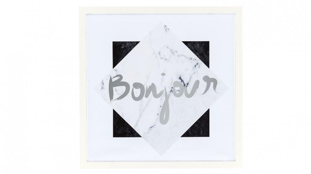 Bonjour Framed Print Black and White