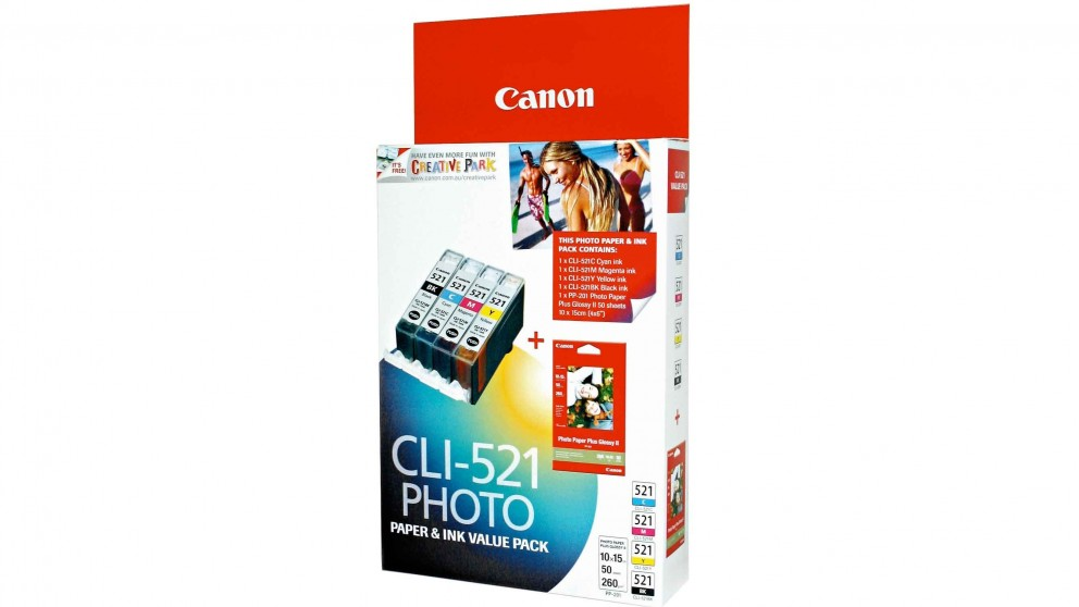 Canon CLI-521VP Photo Paper & Ink Value Pack - Black/Cyan/Magenta/Yellow