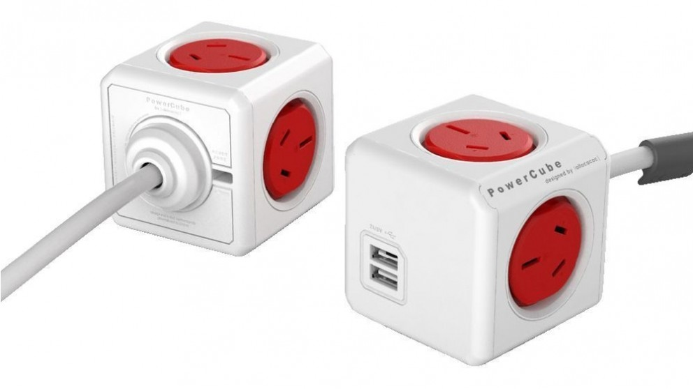 Allocacoc Powercube Extended USB with 1.5M Cable - Red