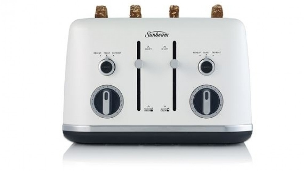 Sunbeam Gallerie Collection 4 Slice Toaster - White Sky