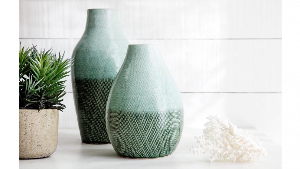 Kamana Ceramic Vase - Two Tone Green - Large