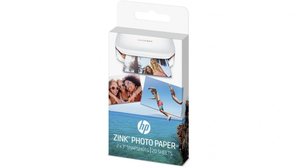 "HP Sprocket Zink Sticky-Backed 2x3"" 20 Sheet Photo Paper"