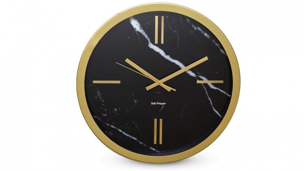 Salt & Pepper Zone Marble Look Clock - Black & Gold