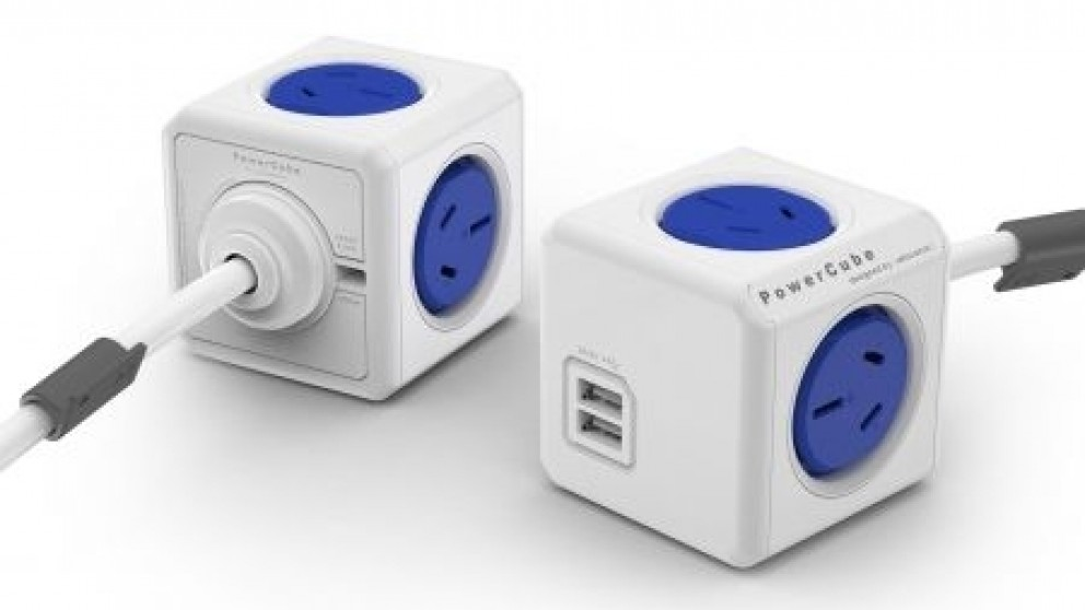 Allocacoc Powercube Extended USB with 1.5M Cable - Blue