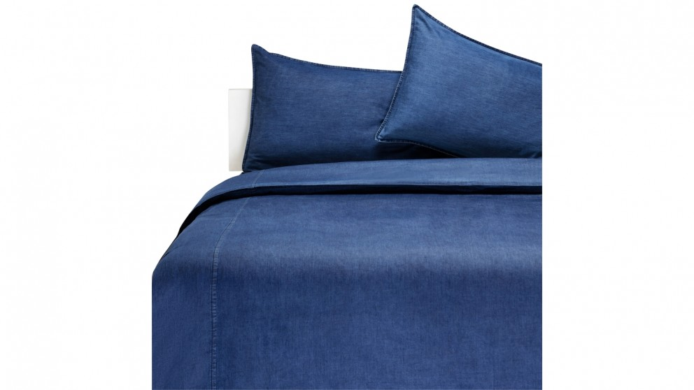 Aura Denim Indigo Quilt Cover Set - Queen