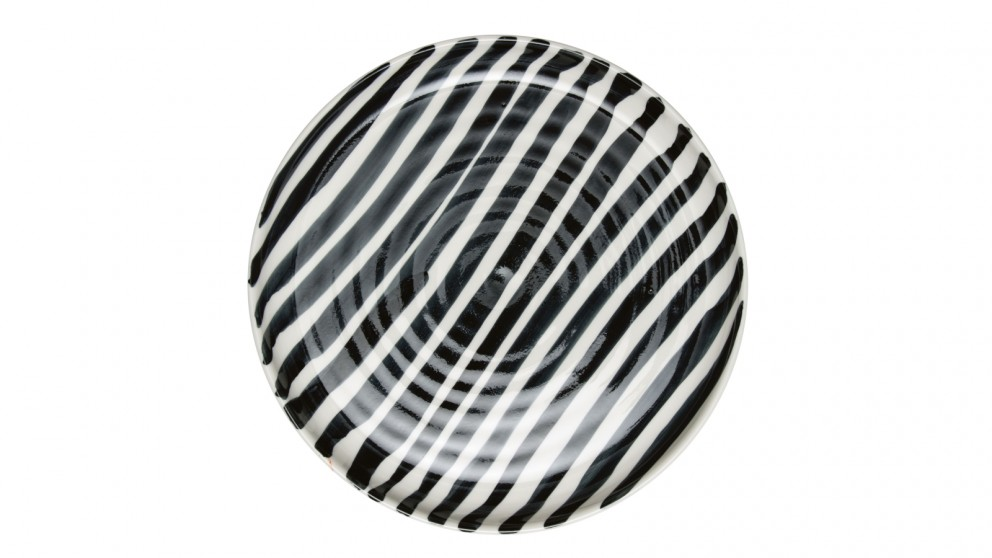 Robert Gordon Abstract Stripe Dinner Plate  Black/White