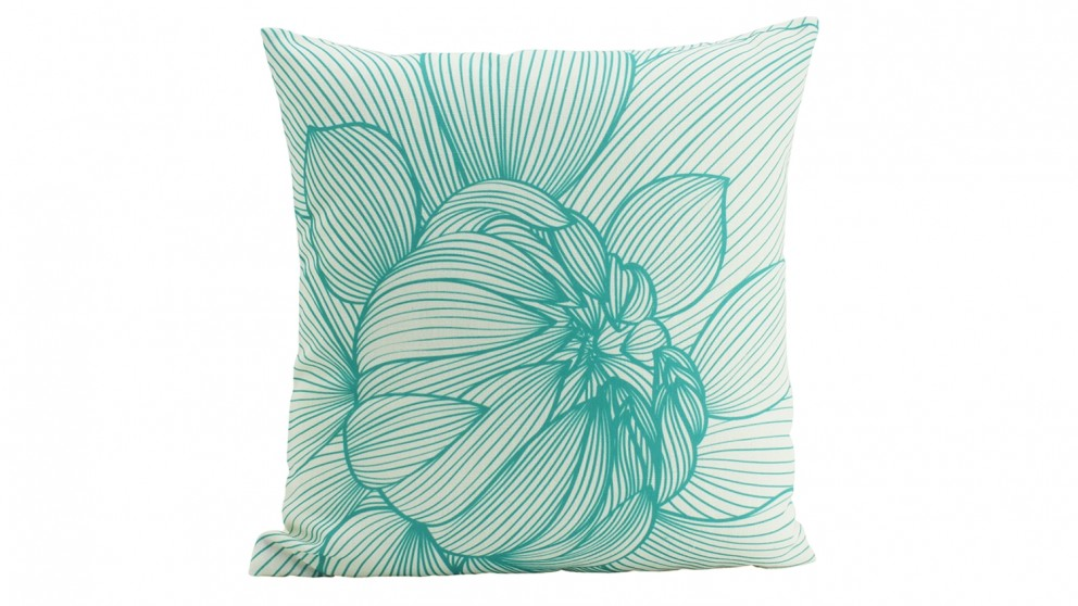 In Bloom 2 Mint Cushion - Turquoise