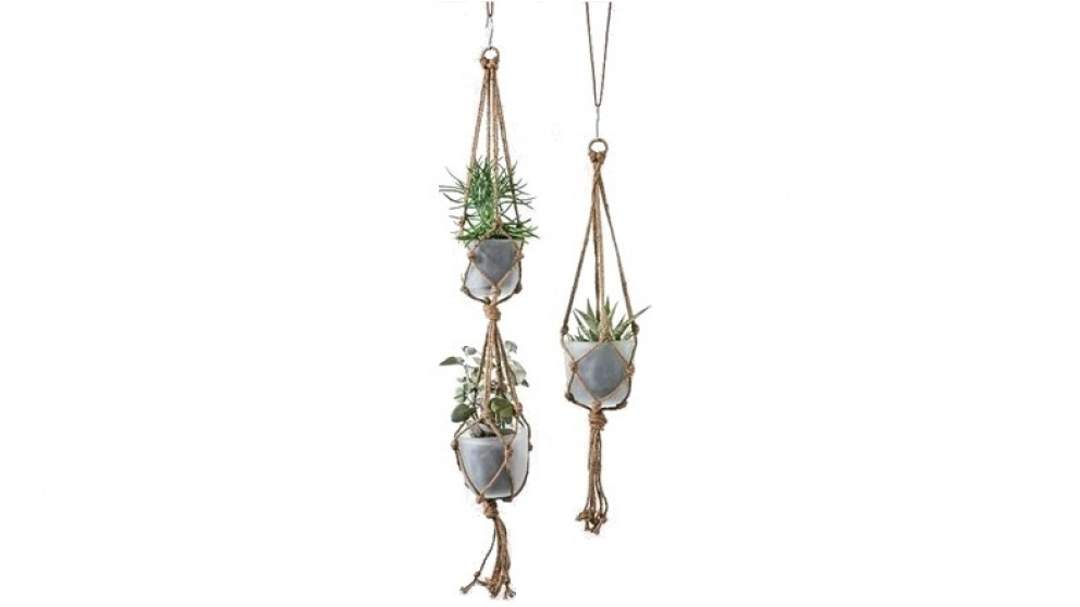 Rope and Frosted Glass Hanging Planter White