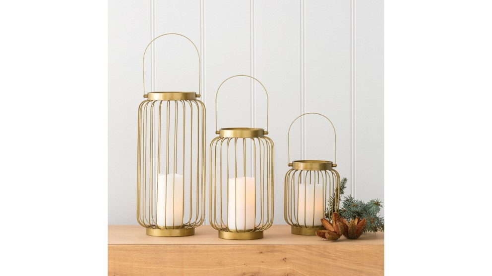 Wire Hurricane Candle Holder with Handle - Gold