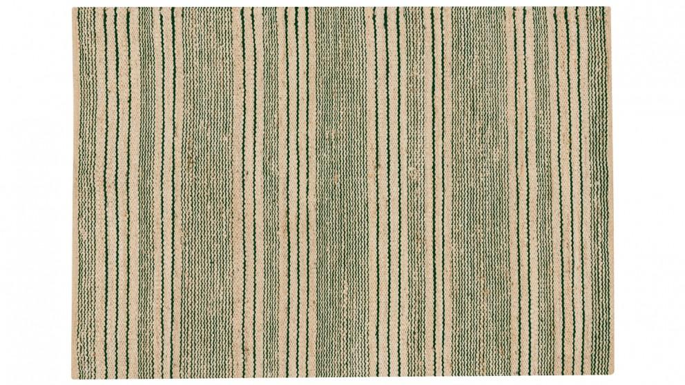 Harvest Stripes Flat Weave Rug - Forest