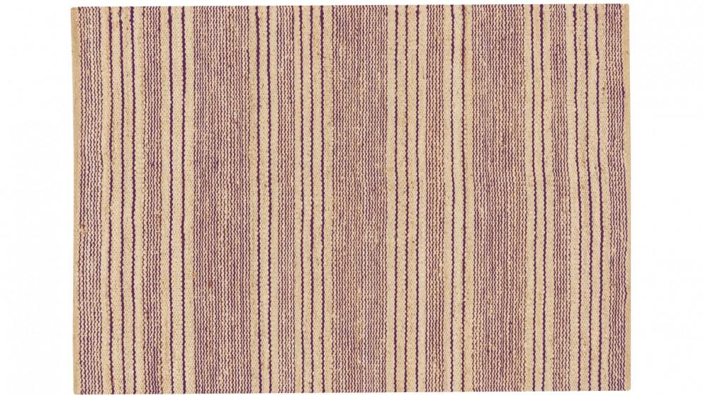 Harvest Stripes Flat Weave Rug - Plum