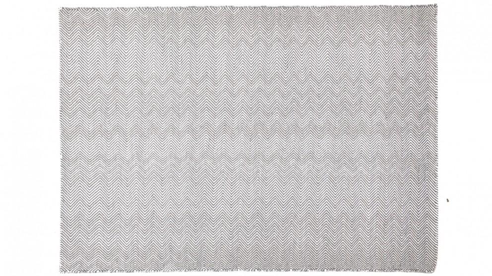 Herringbone Wool Rug - Grey
