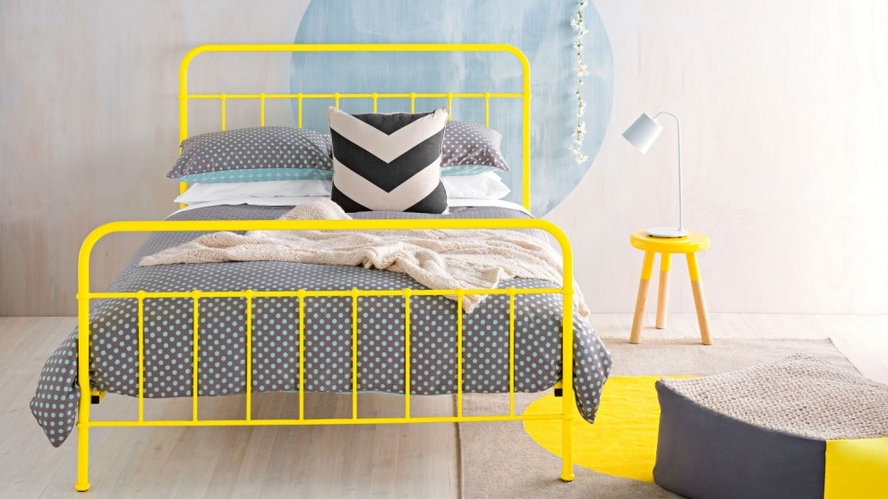 Buy Sunday Bed Frame Sunshine Yellow Domayne Au