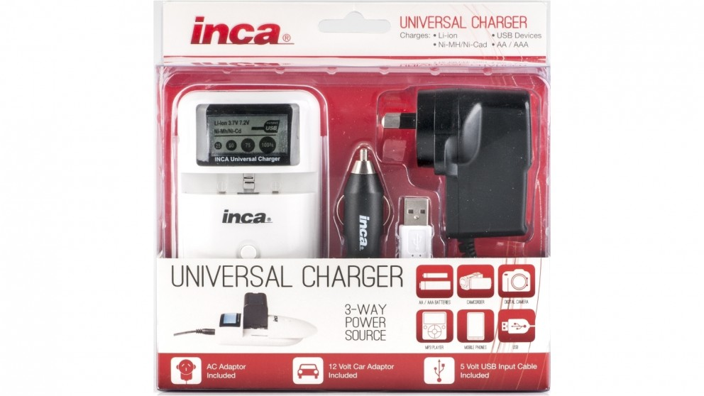 Inca 3-Way Power Source Universal Battery Charger