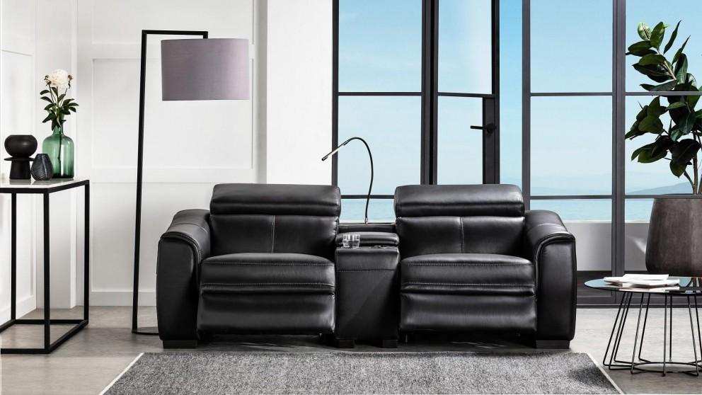 Buy Zaina Leather Lounge With Reclining Actions Domayne Au