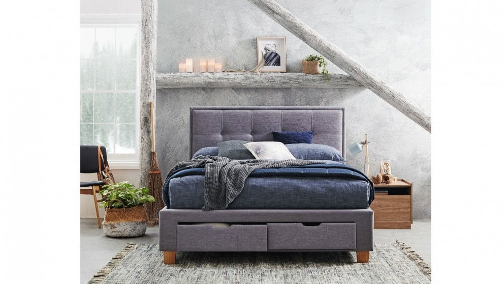 Halo Bed Frame with Storage - Light Grey