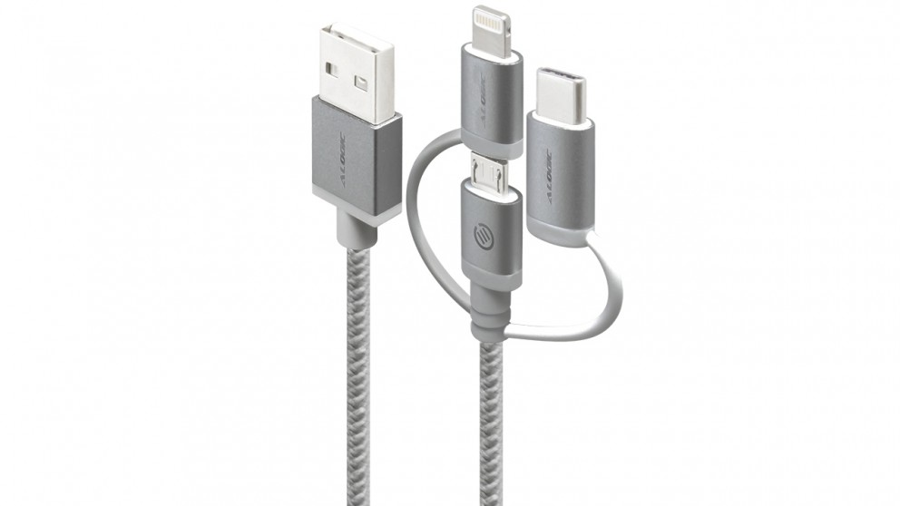 Alogic Prime 1m 3-in-1 Charge & Sync Braided Sleeved Lightning Cable - Space Grey