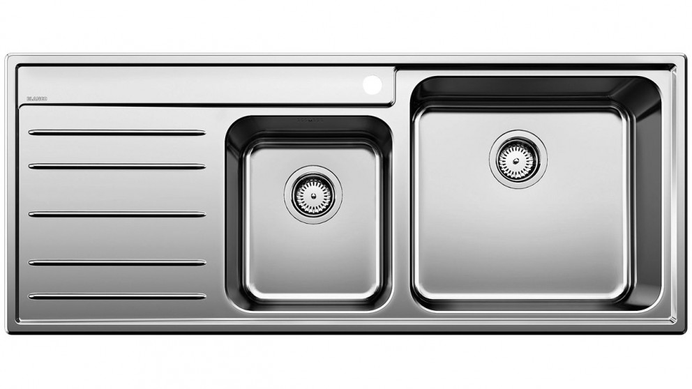 Blanco Stainless Steel Right Hand Double Bowl Sink with Draining Board