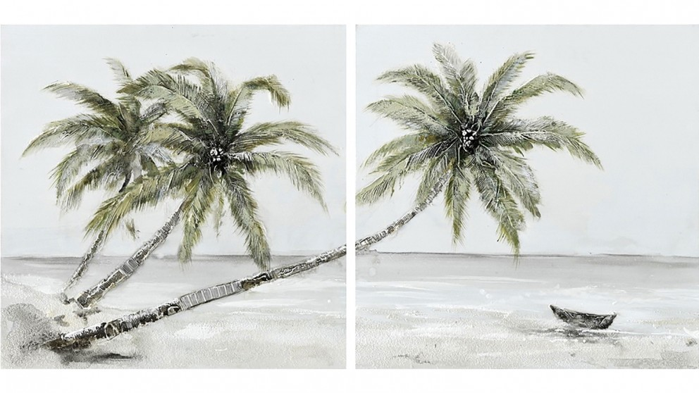 Tropical Palm Set of 2 Oil Paintings