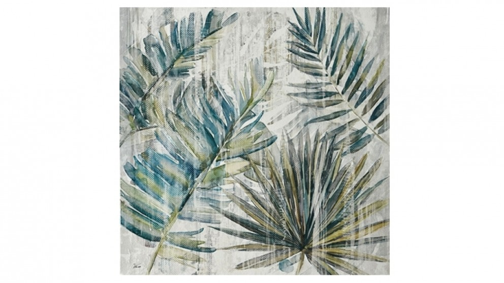 Tropical Mix Leaves 80x80cm Canvas Wall Art