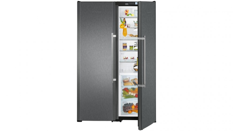 Liebherr 707L BioFresh Freestanding Side by Side Fridge - Black Steel