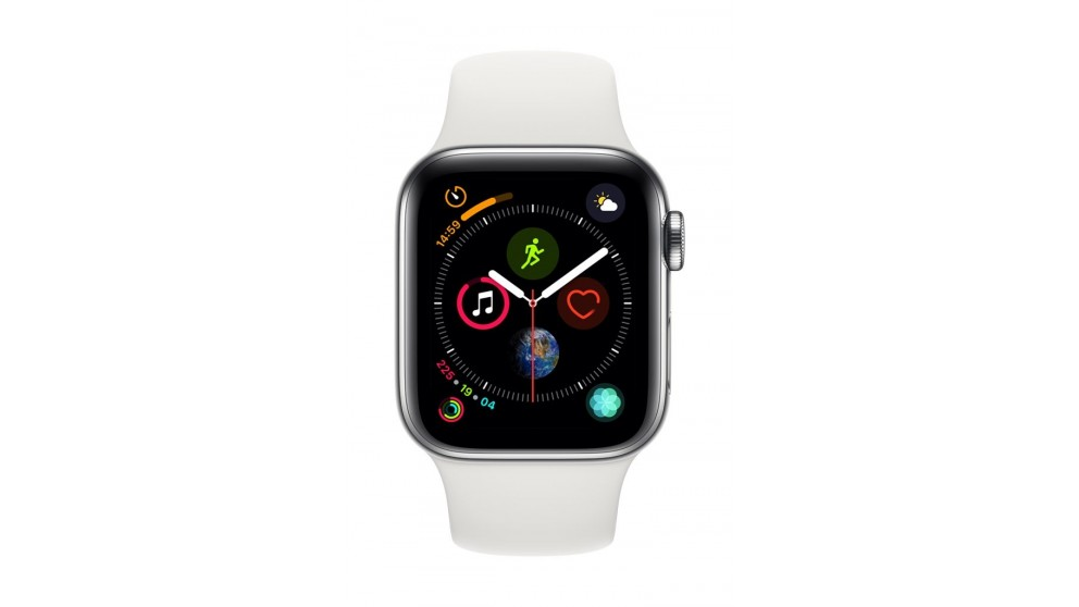 40fc7727edf35 Apple Watch Series 4 - Stainless Steel Case with White Sport Band 40mm GPS  + Cellular