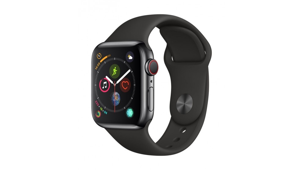 the best attitude bf8c8 36d49 Apple Watch Series 4 - Space Black Stainless Steel Case with Black Sport  Band 40mm GPS + Cellular